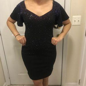 BLACK Rhinestone Little Black Dress LBD crisscross